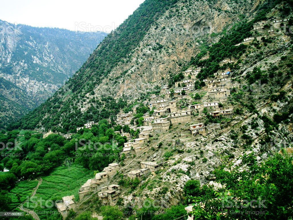 View of a village in Afghanistan ,Nuristan stock photo