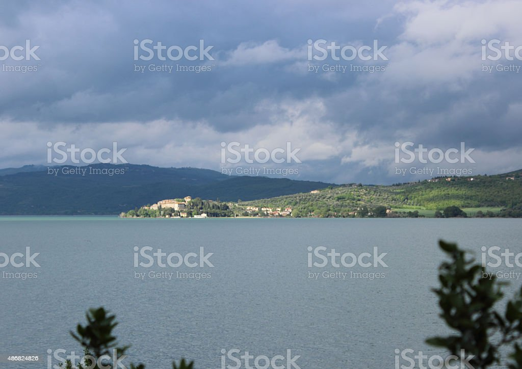 view of a village on the lake stock photo