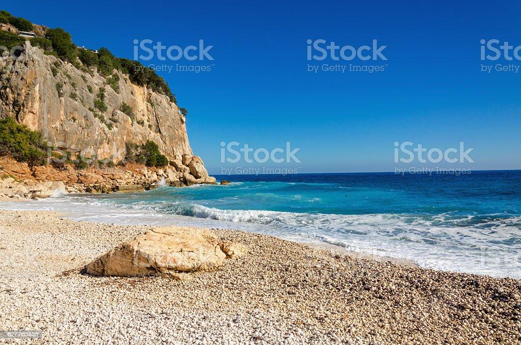 View of a wonderful stony beach, Sardinia, Italy stock photo