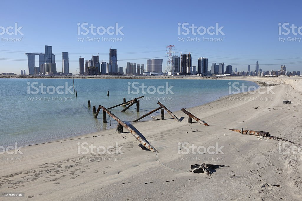 View of Abu Dhabi from Saadiyat Island stock photo