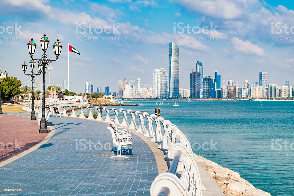 View of Abu Dhabi in the United Arab Emirates stock photo