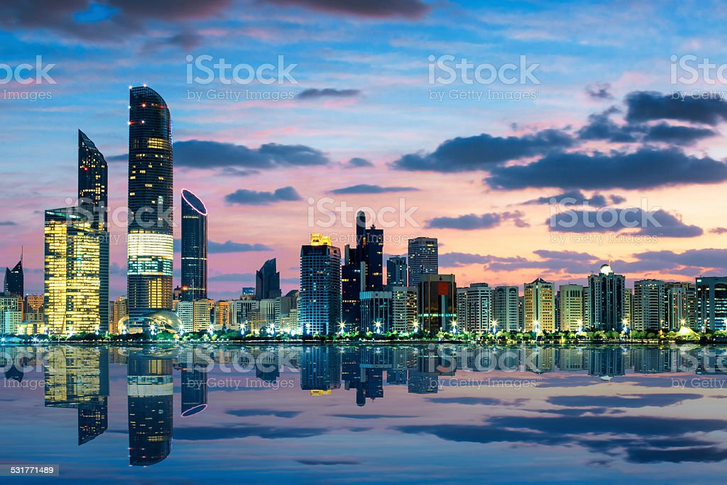 View of Abu Dhabi Skyline at sunset stock photo