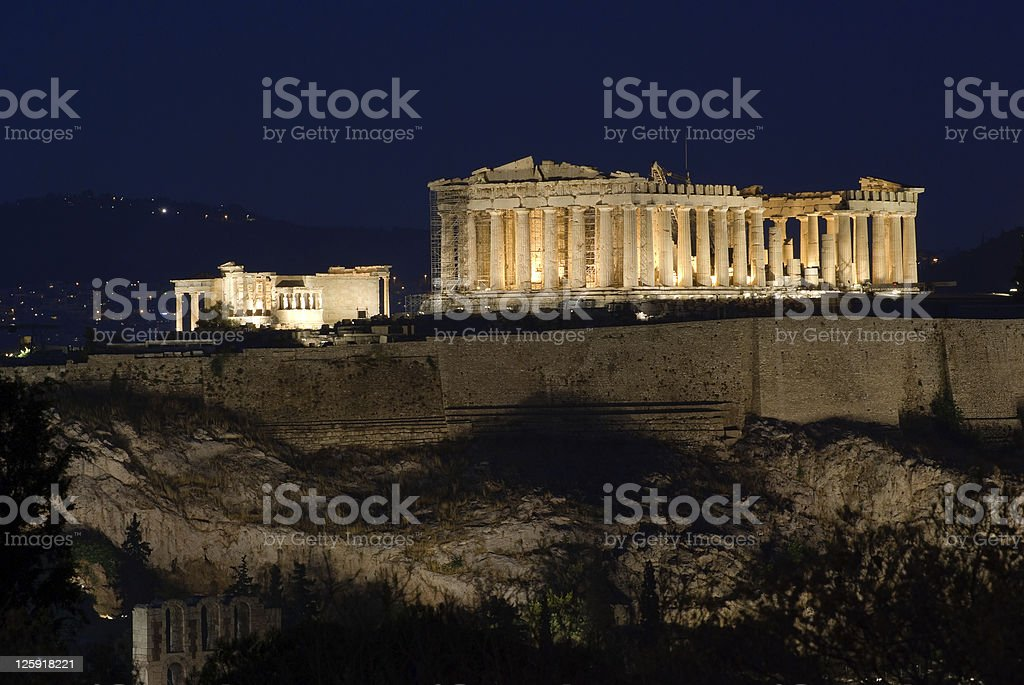 view of Acropolis and Parthenon by night stock photo
