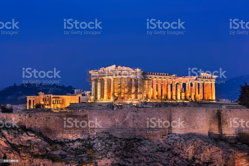 View of Acropolis and Parthenon from the Philopappos Hill in the Evening, Athens, Greece stock photo