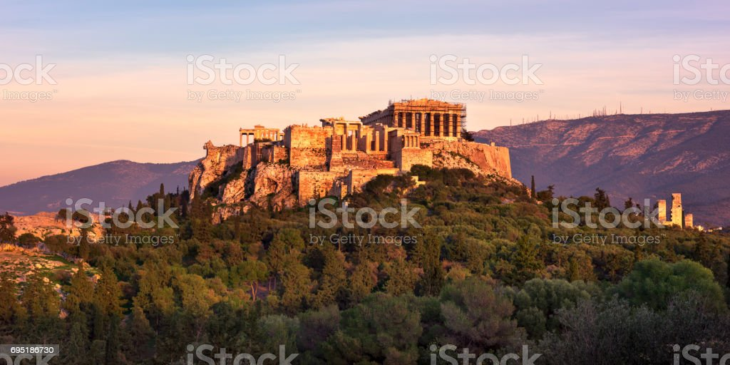 View of Acropolis from the Philopappos Hill in the Evening, Athens, Greece stock photo