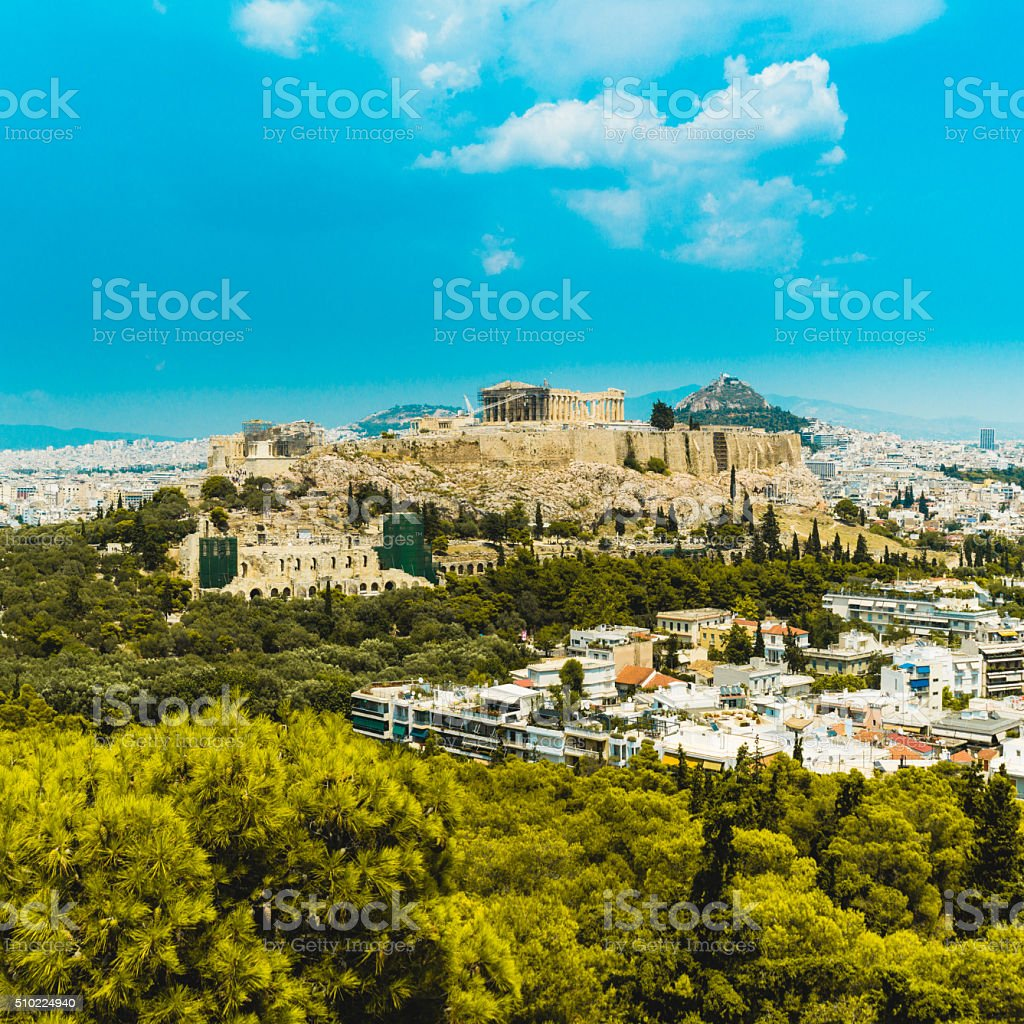 View of Acropolis in Athens, Greece stock photo