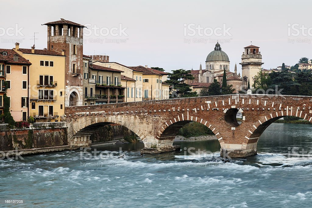 View of Adige River and Saint Peter Bridge in Verona royalty-free stock photo