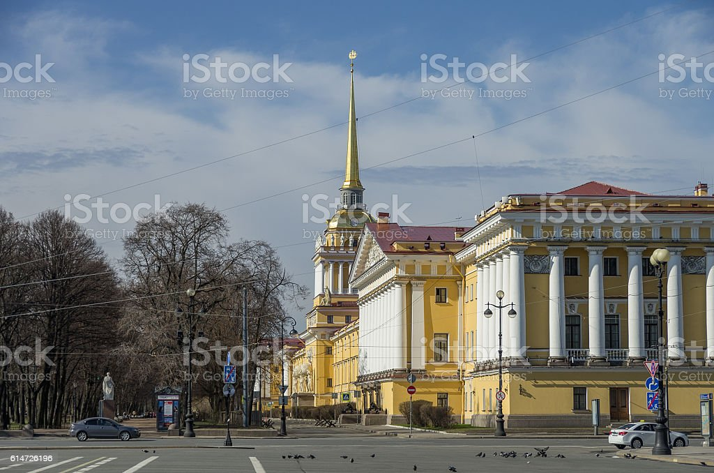 View of Admiralty building in Saint Petersburg from Palace stock photo