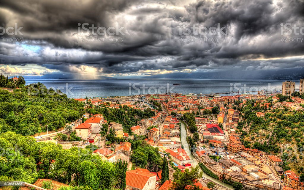 View of Adriatic Sea in Rijeka, Croatia stock photo