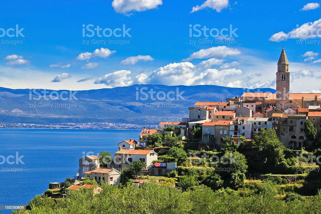 View of Adriatic Town of Vrbnik , Island Krk stock photo