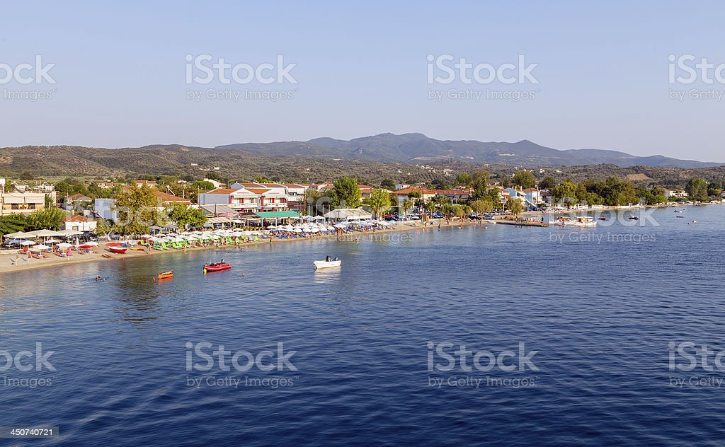 View of Agiokampos beach, North Euboea, Greece stock photo