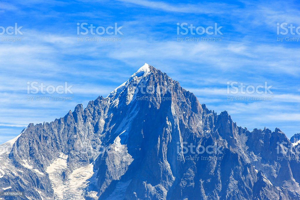 View of Aiguille Verte from Chamonix stock photo