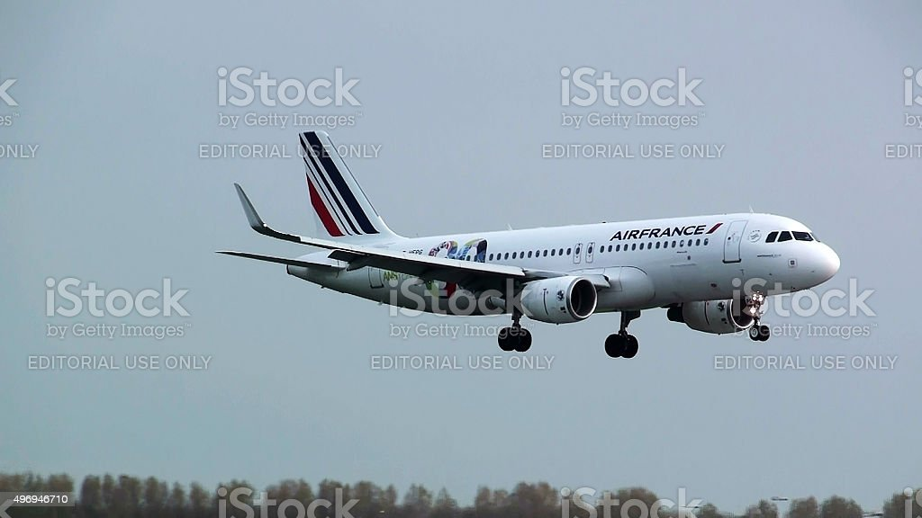 View Of Air France Descending For Landing At Schiphol Airport stock photo