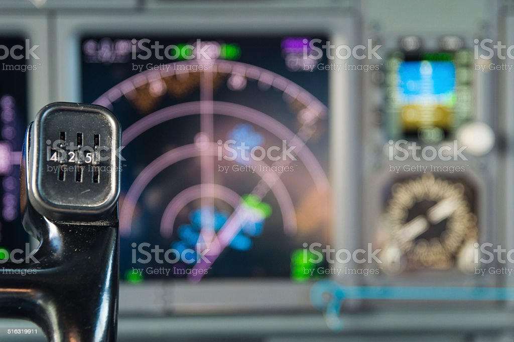 View of aircraft thrust lever in pilot's cabin stock photo