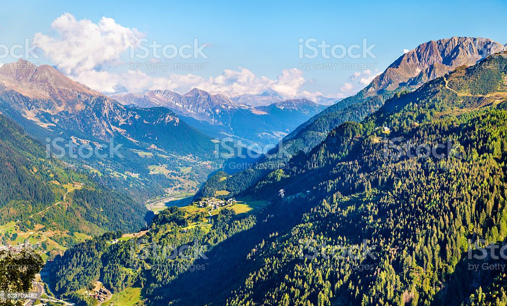 View of Airolo village from the Gotthard Pass, Switzerland stock photo