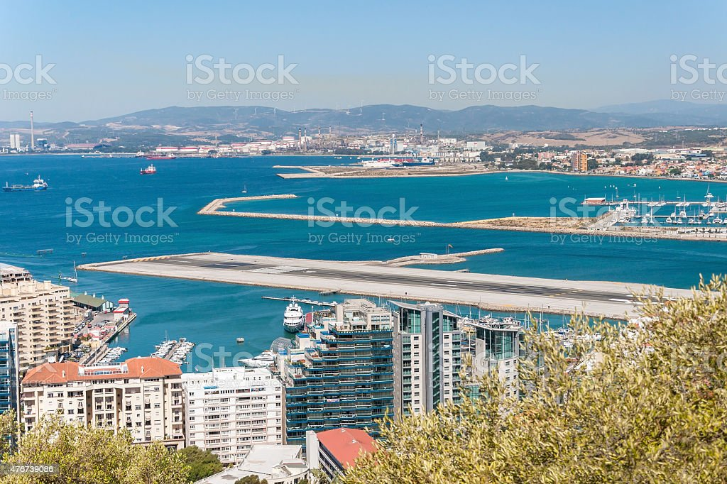 View of airport runway in Gibraltar stock photo