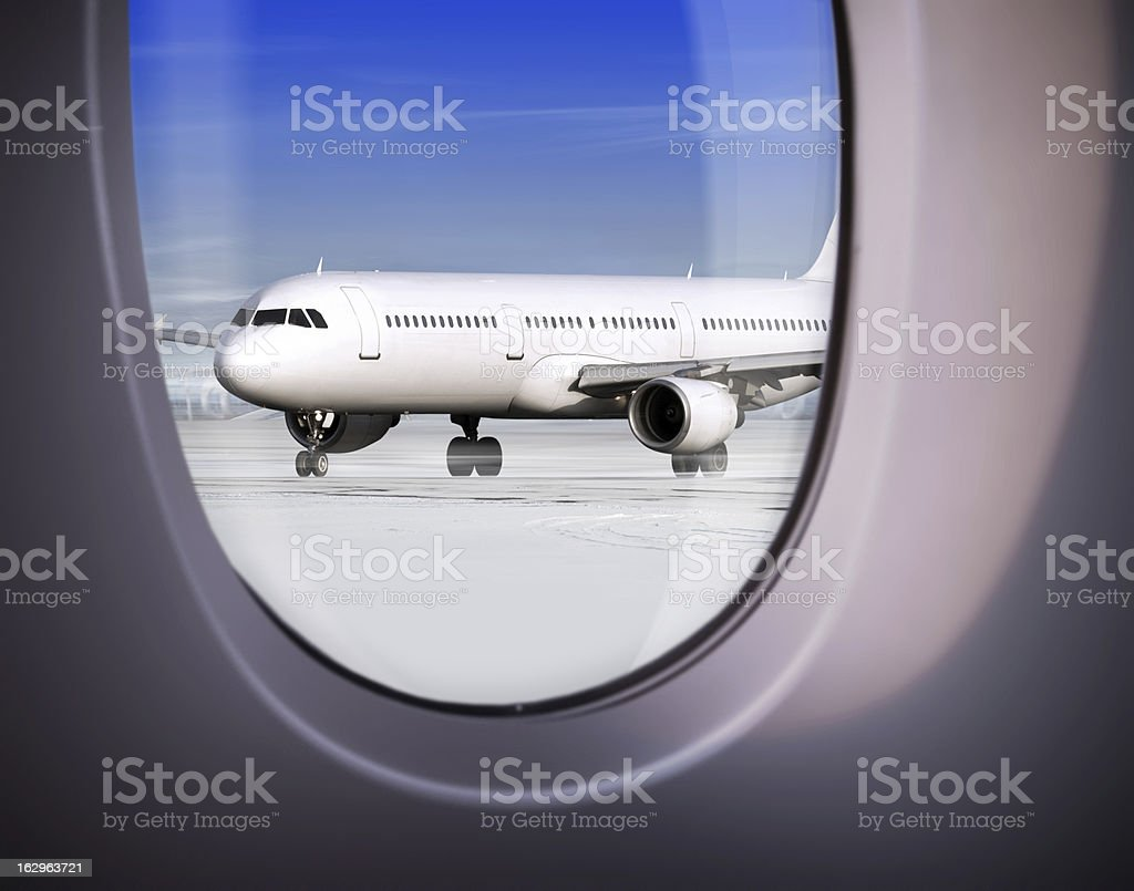 view of airport through window royalty-free stock photo