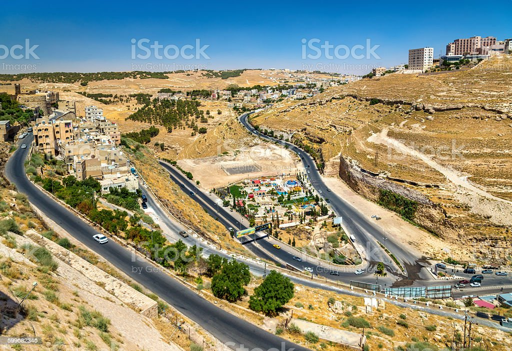 View of Al Karak city from the castle stock photo