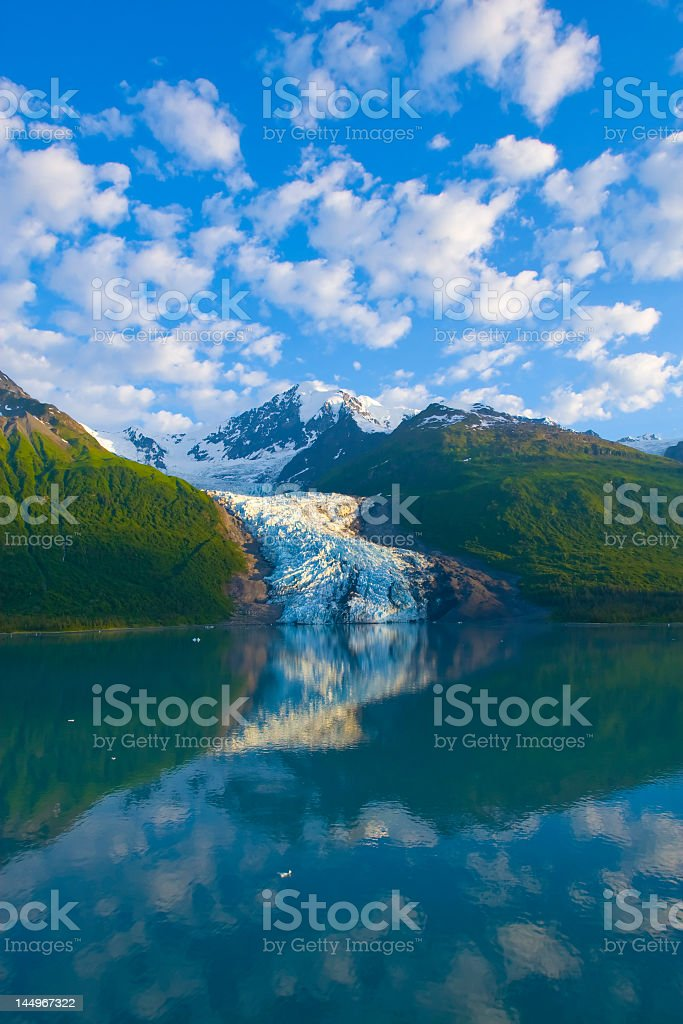 View of Alaskan lake and snowy mountains royalty-free stock photo