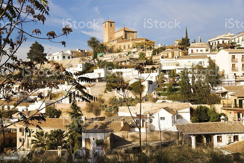 View of Albayzin, Granada, Spain. San Crist?bal in the middle stock photo