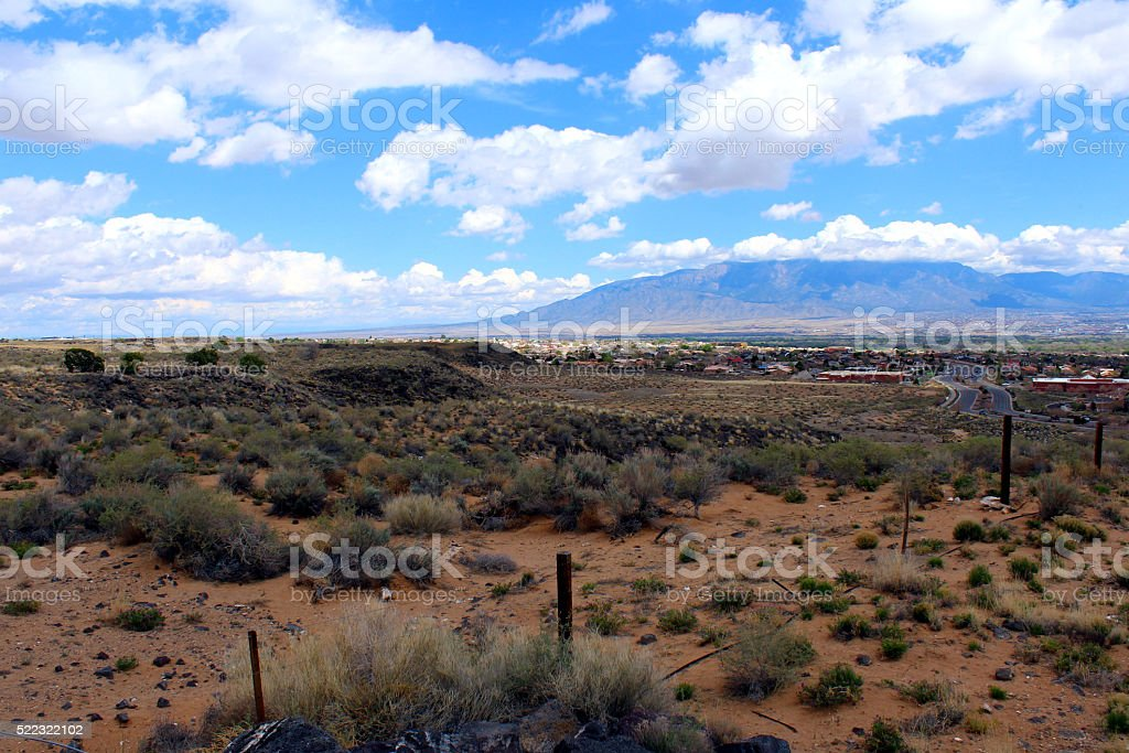 View of Albuquerque from the West Mesa stock photo