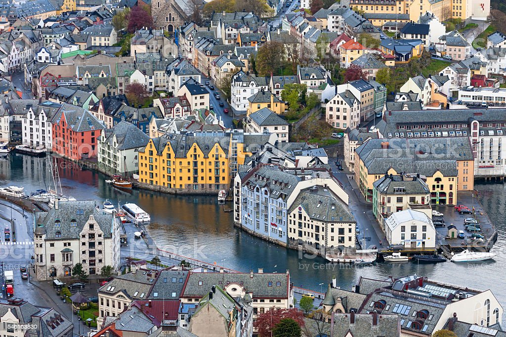 View of Alesund with the channel stock photo