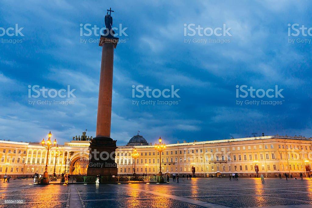 View of Alexander Column in St. Petersburg stock photo