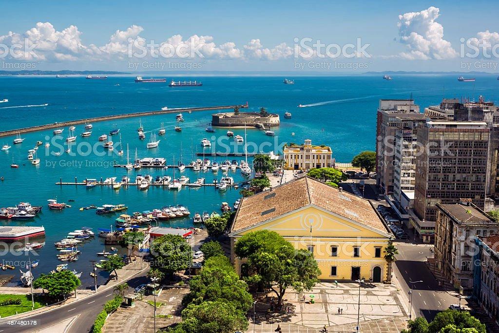 View of All Saints Bay in Salvador, Bahia, Brazil stock photo