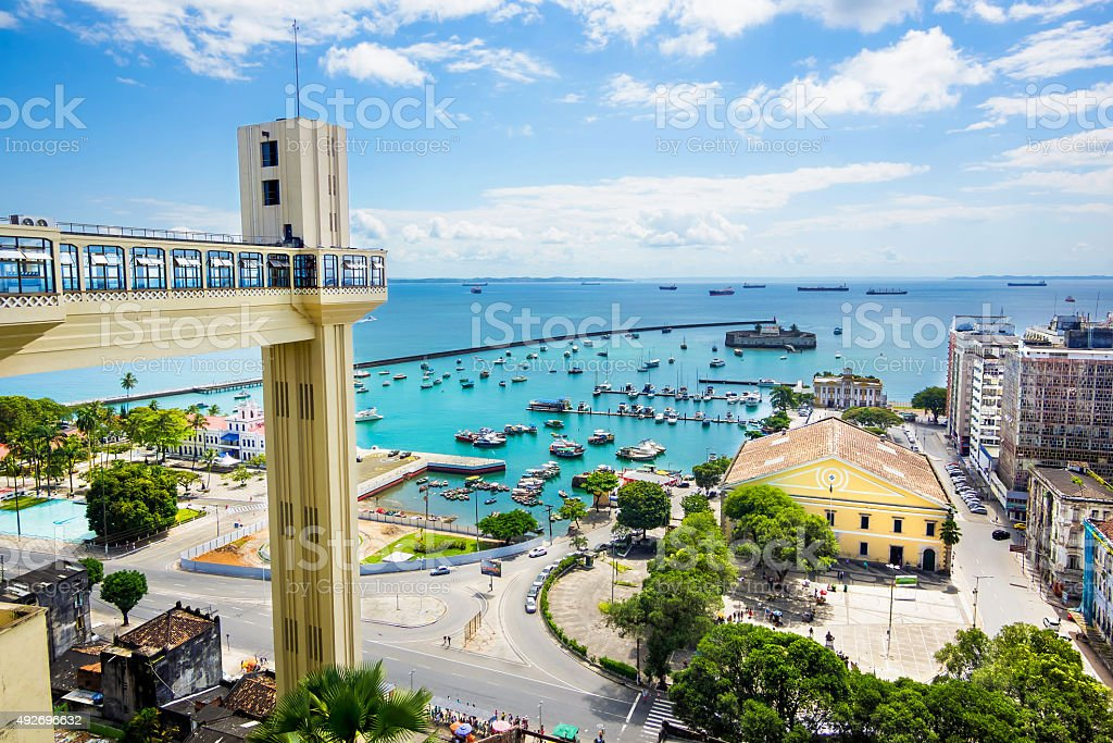 View of All Saints Bay in Salvador, Bahia, Brazil stock photo