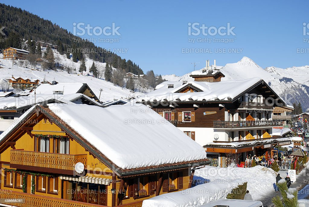 View of alpine Les Gets royalty-free stock photo