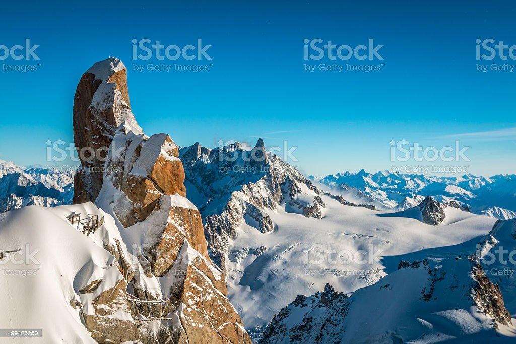 View of Alpine Mountains from Aigille du Midi stock photo