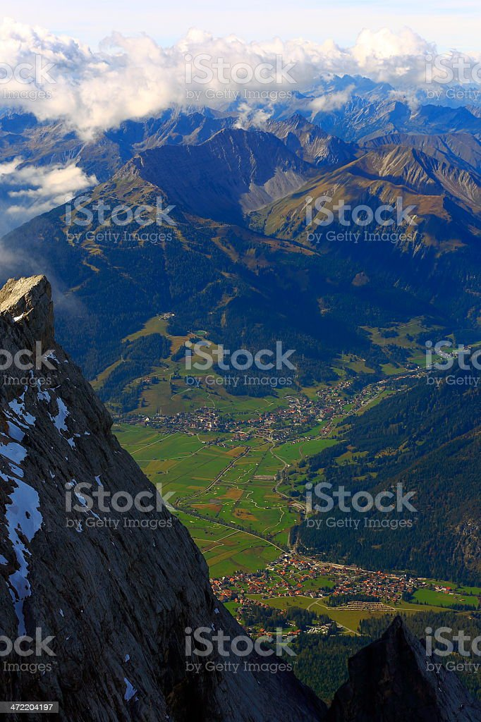View of alpine villages from Zugspitze - Germany Austria stock photo
