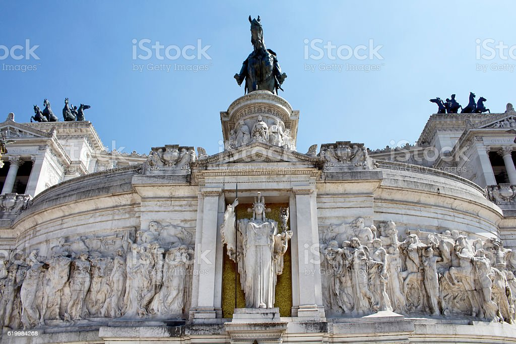 View of Altar of the Fatherland in Piazza Venezia stock photo