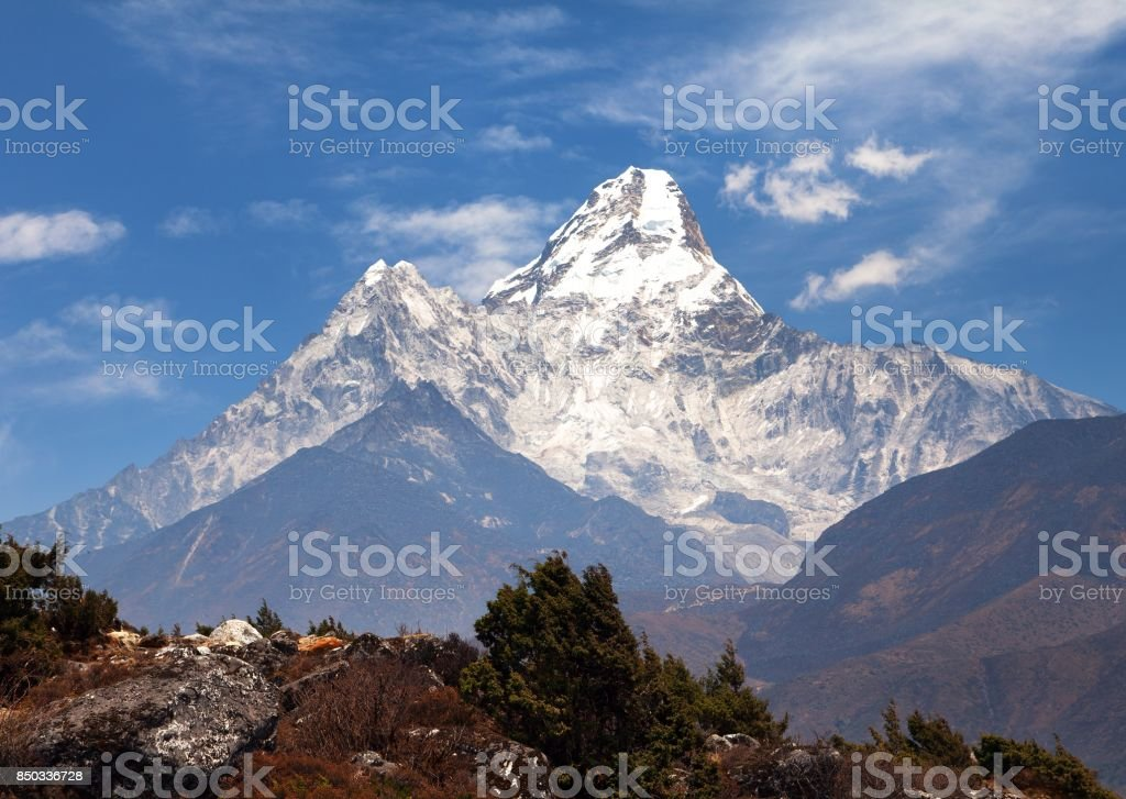 View of Ama Dablam on the way to Everest Base Camp stock photo