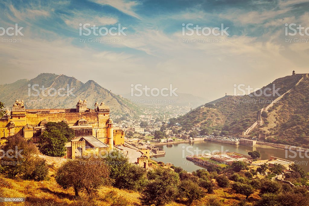 View of Amer Amber fort and Maota lake, Rajasthan, India stock photo