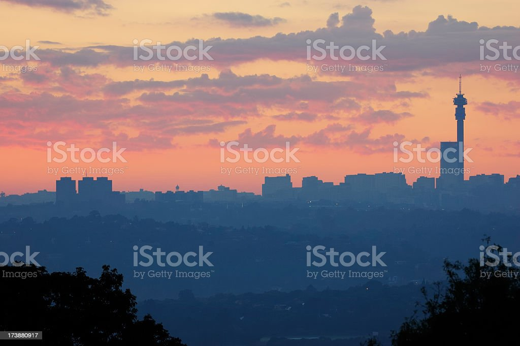 A view of an African city during dawn royalty-free stock photo