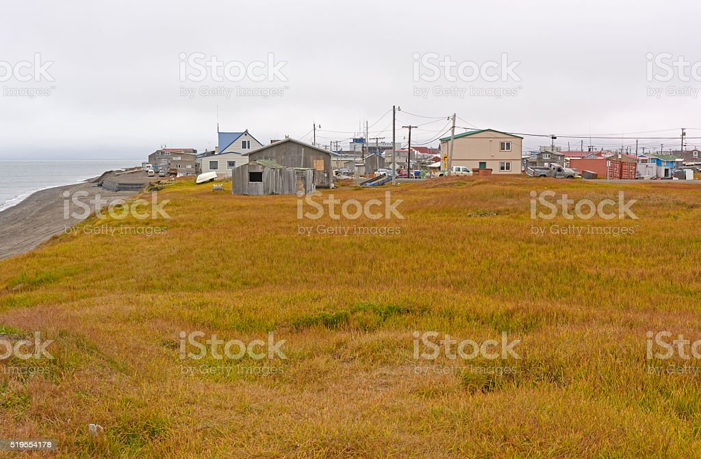 View of an Arctic Village stock photo