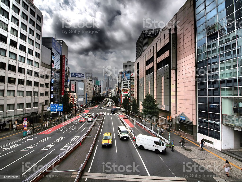 View of an moment on street in Shinjuku, Tokyo stock photo