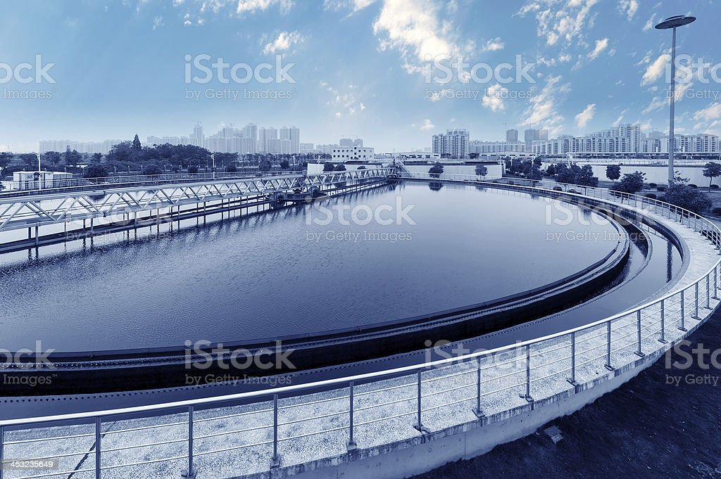 View of an urban wastewater treatment plant stock photo