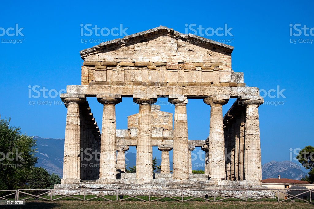 View of ancient Athena Temple in Paestum, Naples. stock photo
