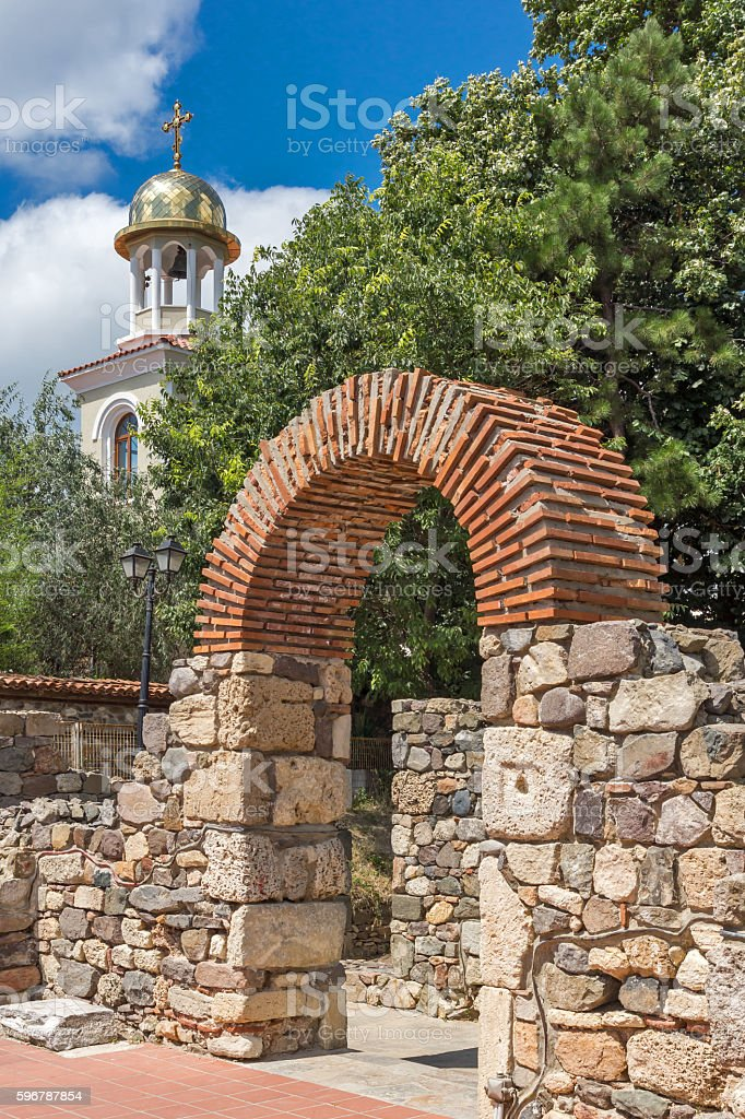 view of Ancient Sozopol ruins and the church of St. George stock photo