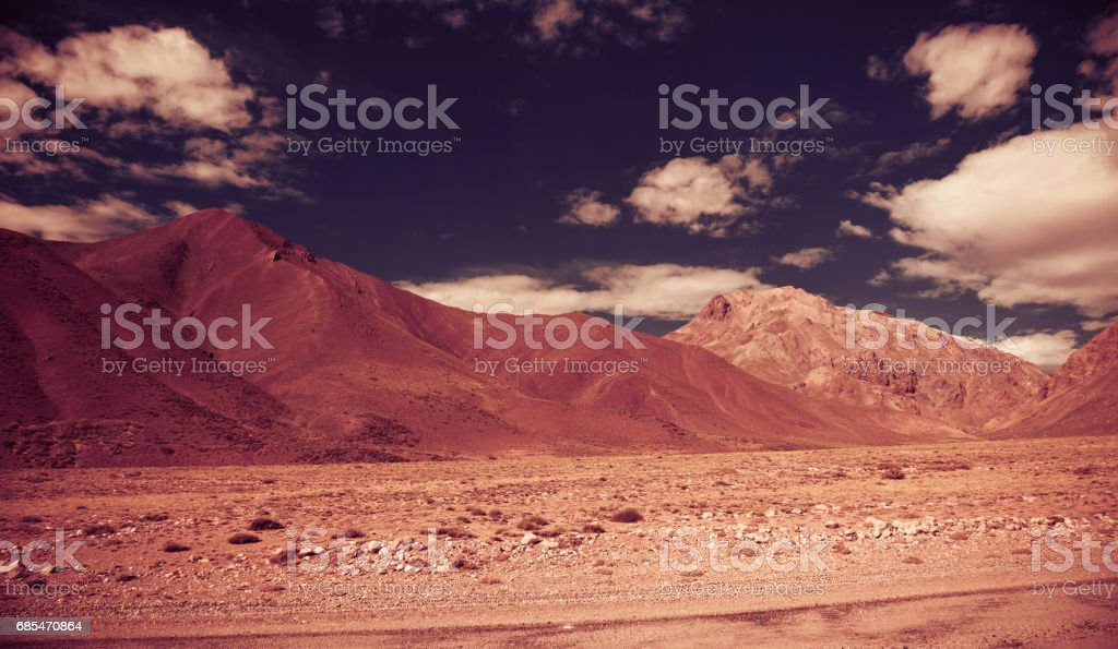 View of Andes mountains, Valle Hermoso stock photo