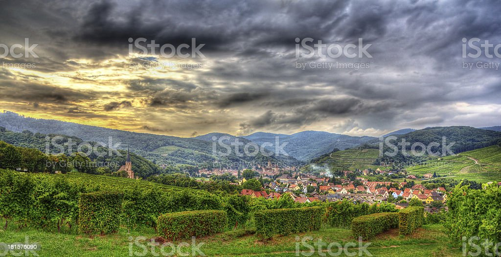 View of Andlau village in Vosges mountains - Alsace, France stock photo