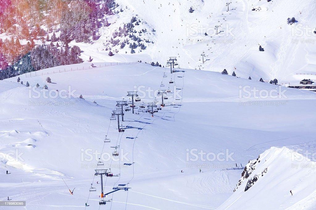 View of Andorra ski lift royalty-free stock photo