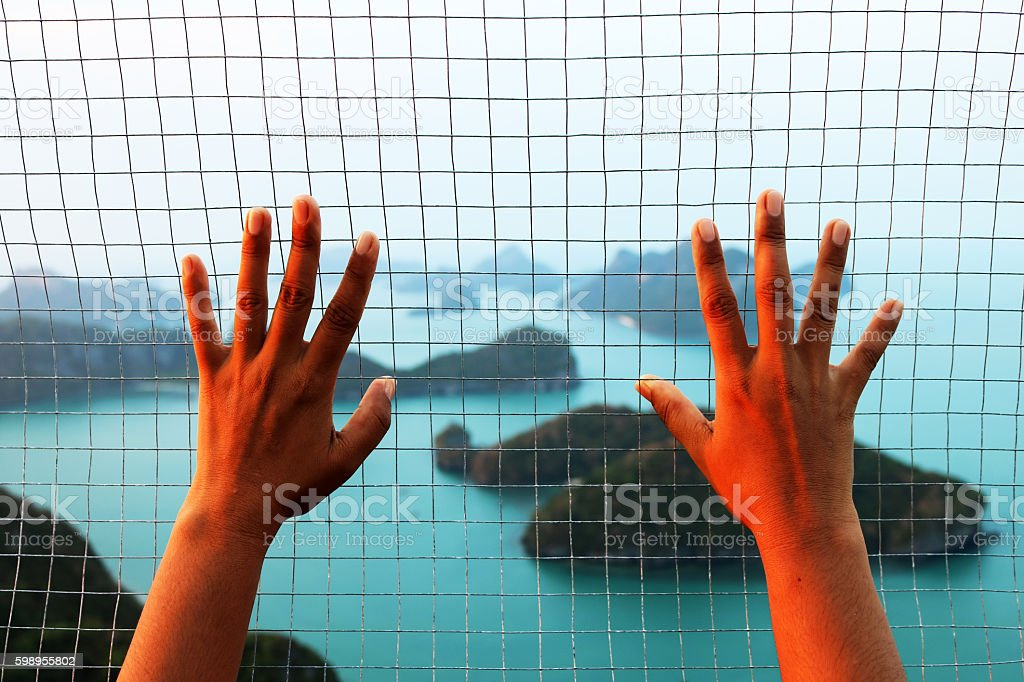 View of ang thong island with steel mesh. stock photo