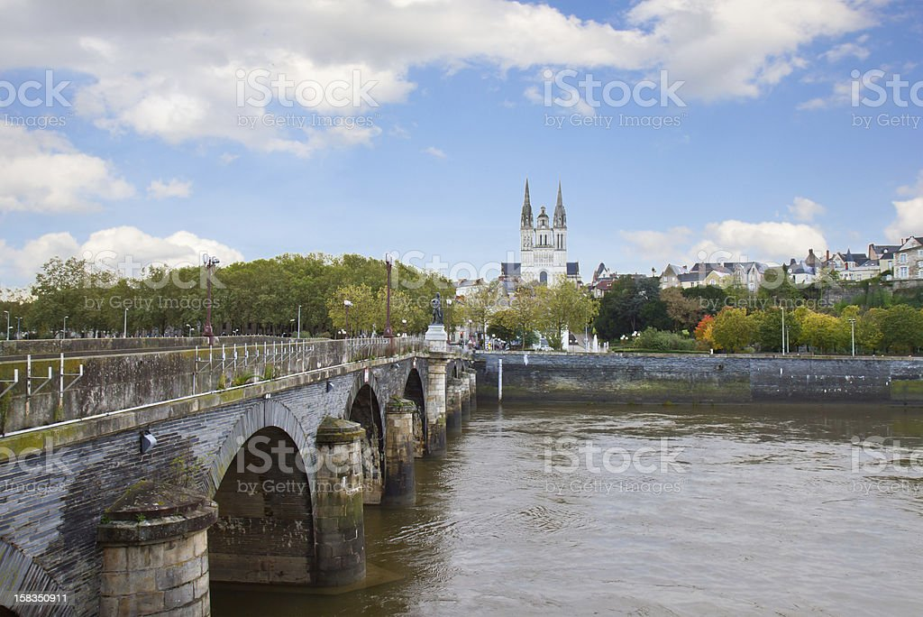 view of Angers  with  St Maurice, France stock photo