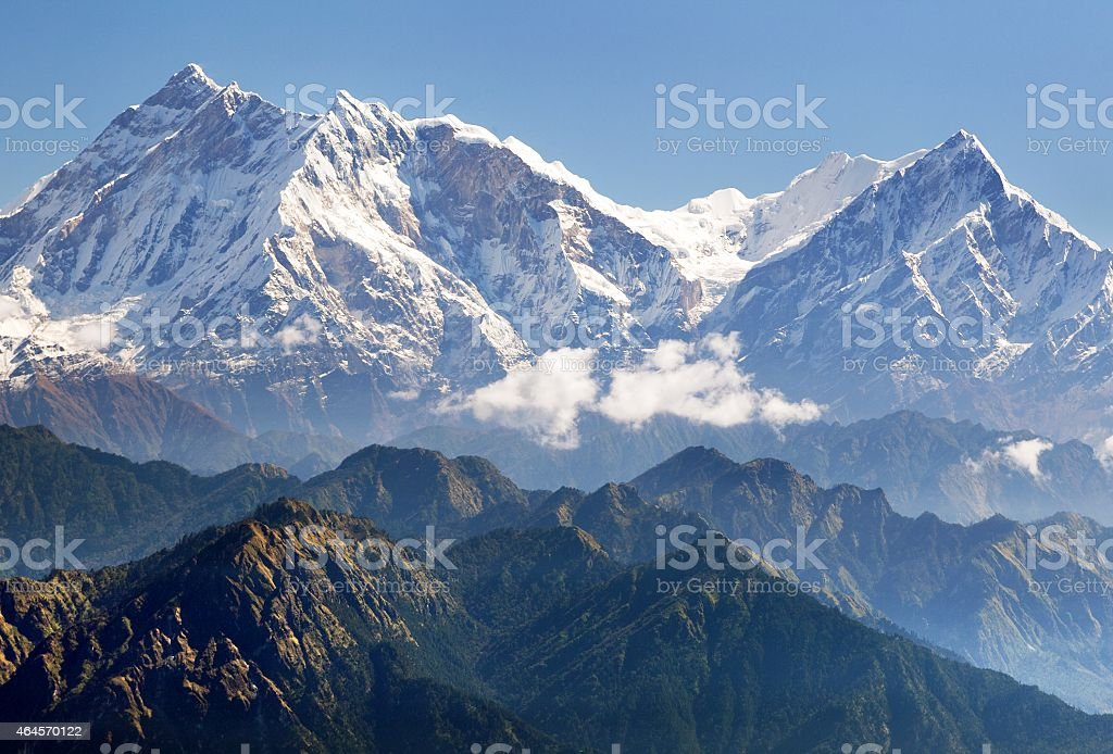 view of Annapurna Himal from Jaljala pass stock photo