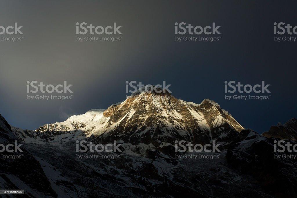View of Annapurna I from Annapurna Base Camp Himalaya Mountains stock photo