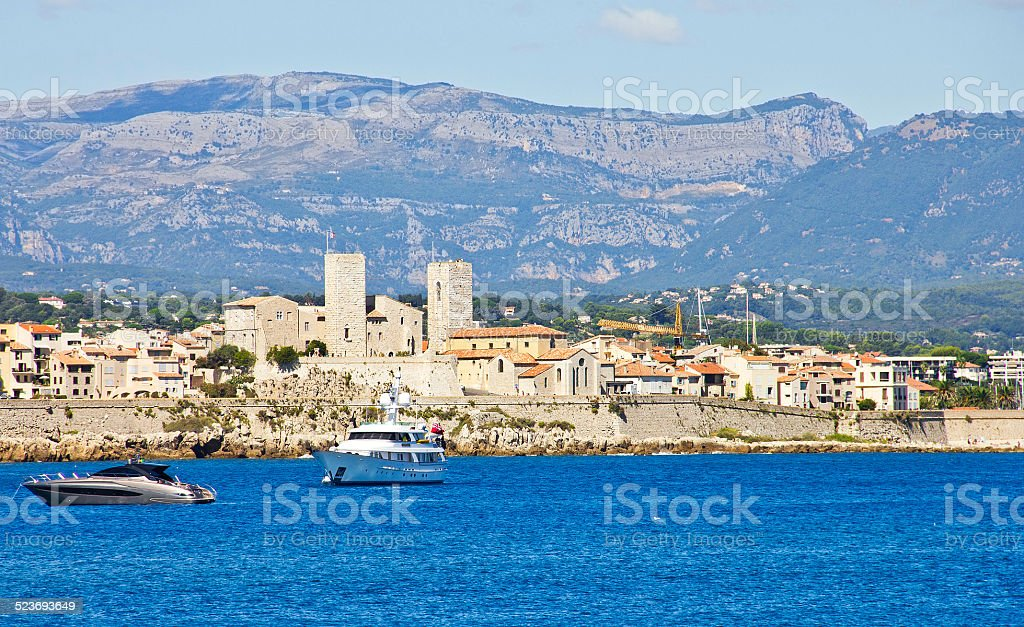 View of Antibes from the sea, France stock photo