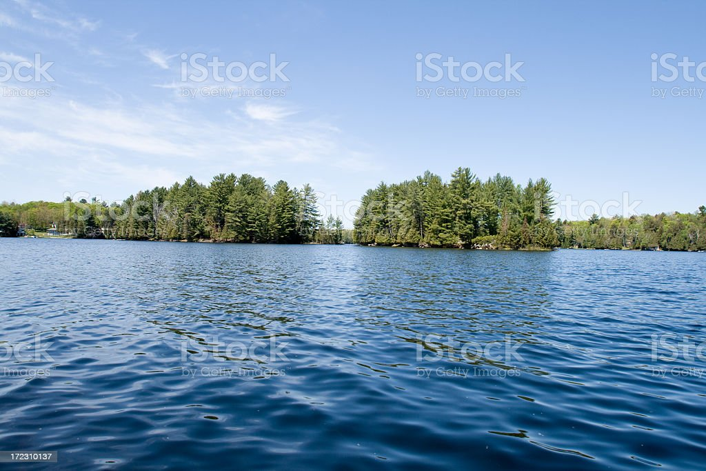 View of approaching land from lake view royalty-free stock photo